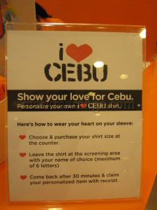 "Personalize your ""I Love Cebu"" Shirt"