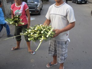Selling Palm Leaves to Worshipers