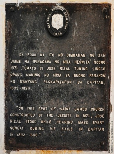 Marker where Rizal stood to hear mass