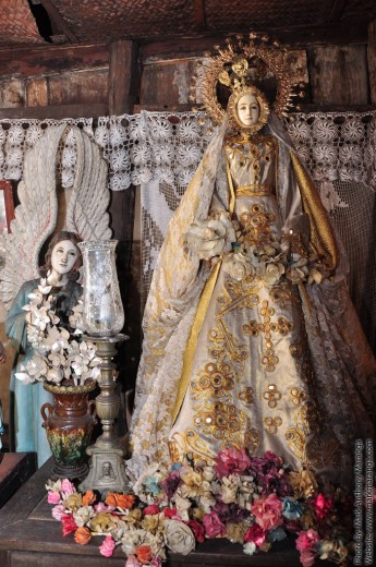 Blessed Mary with flowers made from fish-scales