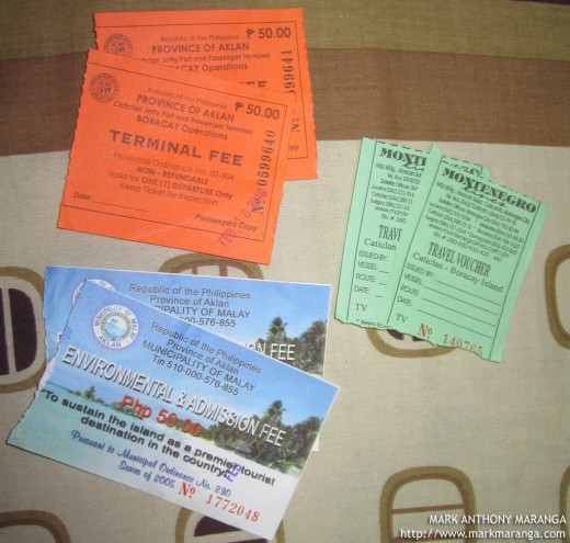 The 3 tickets at Caticlan Jetty Port Passenger Terminal