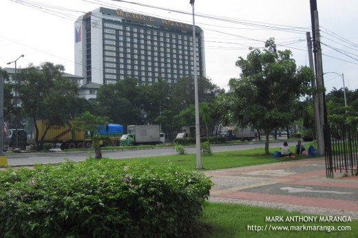 A view of Manila Hotel from Ninoy-Cory Monument