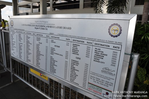 LTFRB prescribed rates for airport transport service