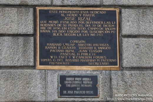 Writings below the Rizal Statue