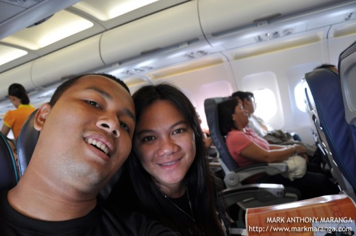 Mark and Lisa enjoying inside the aircraft of Cebu Pacific Air