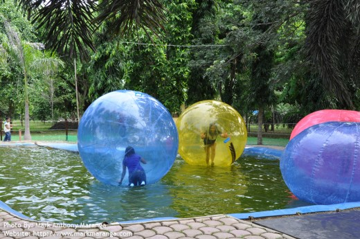 Walking in Water Surface inside an Inflatable Ball