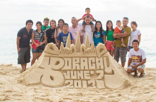 Maranga Family in Boracay with the Sand Castle