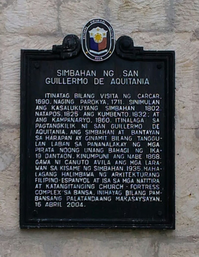 National Historical Institute Marker of San Guillermo de Aquitania Parish Church