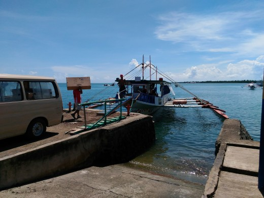 Our motorized outrigger for Island Hopping