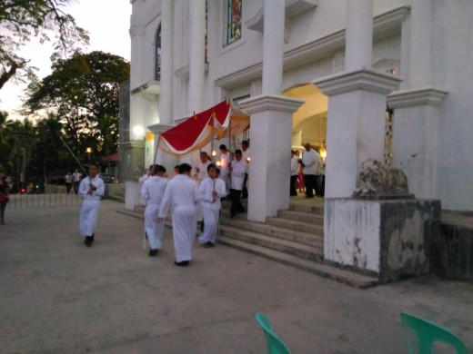 During the Procession of the Consecrated Host