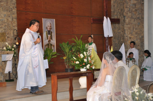 During a wedding ceremony at the church
